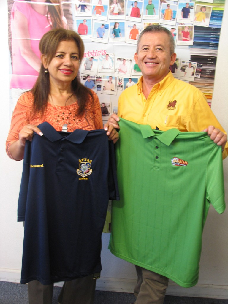 Rocio Celis and her husband Efrain Guevara show their products at Magic Lion Embroidery.